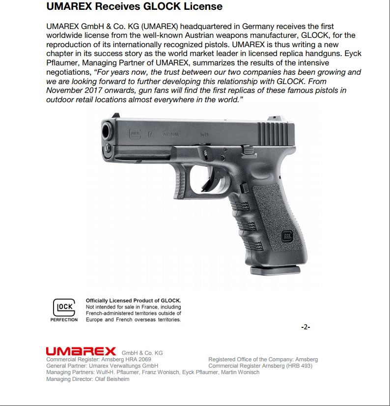 UMAREX Introduces Licensed GLOCK Airsoft and BB Guns   Auction Armory