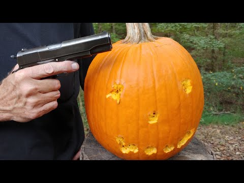 Pumpkin Carving with World War II .45 Colt 1911
