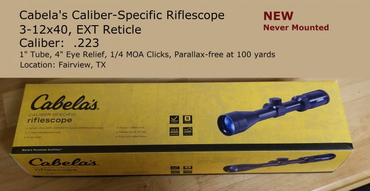 WTS (Want to Sell) Cabela's Caliber Specific Riflescope for .223 New in box – never moun