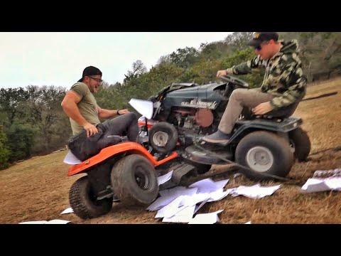 Riding Lawn Mower Battle....With Guns