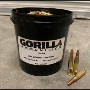 Gorilla Ammunition .223 REM 55gr Self Defense - 150 Round Bucket